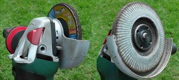 Angle Grinder and flapper disc to sand BrushDestructor Blade