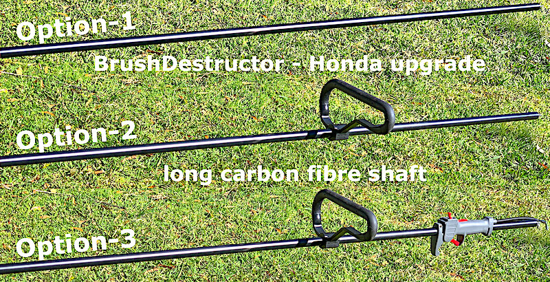 This photo shows the three available options the BrushDestructor extra long carbon fibre shaft