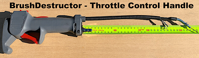 This photo show the throttle control handle offered by BrushDestructor to upgrade the Honda Brush cutter